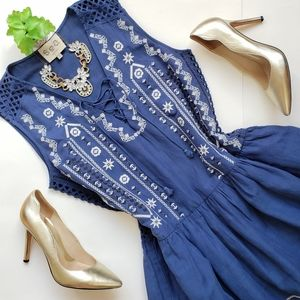 Sea New York Embroidered Lace-up Linen Dress 6